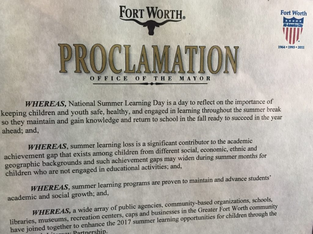 Fort Worth Summer Learning Day Proclamation