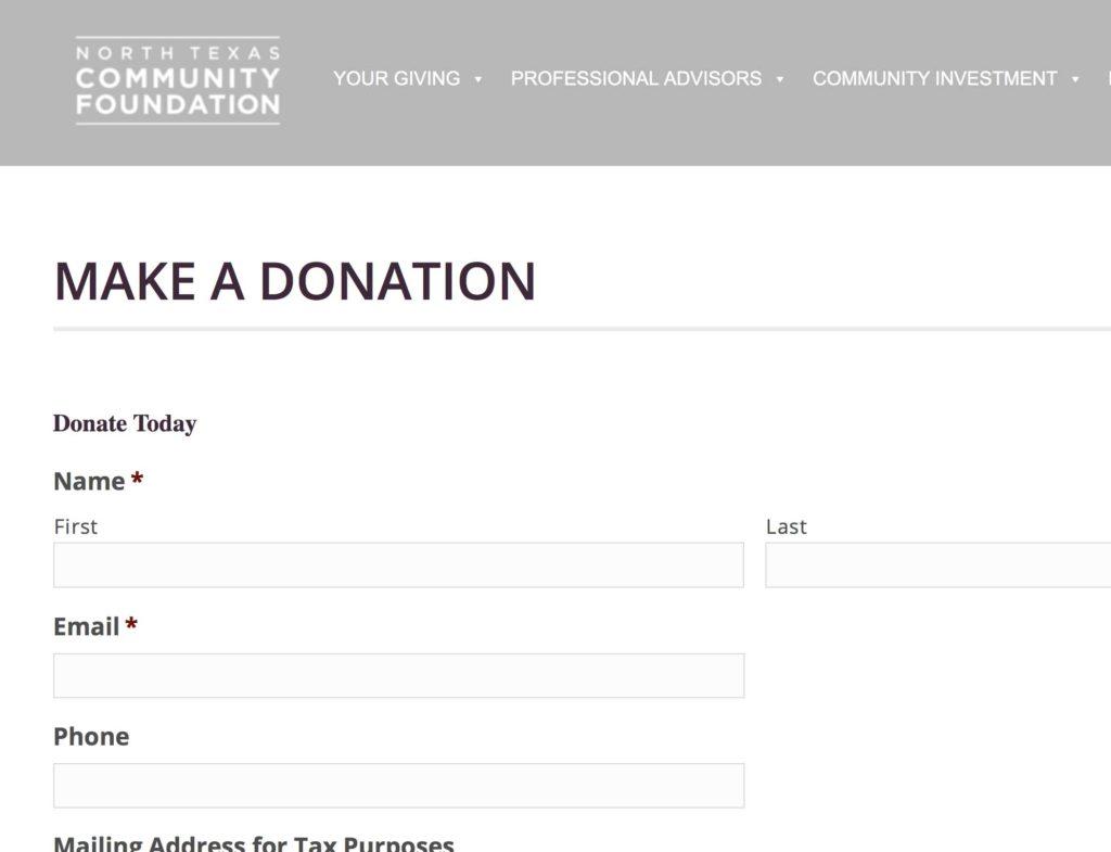 NORTH TEXAS COMMUNITY FOUNDATION DONATION